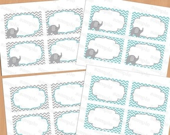 Printable Elephant Baby Shower Decorations Food Labels, Baby Place Card, Blank Place Cards, Place cards, Label (57)