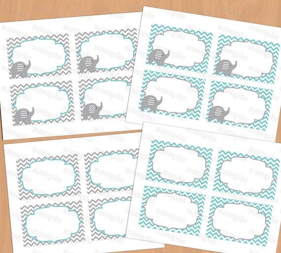 Printable elephant baby shower decorations food labels baby for Baby shower decoration templates