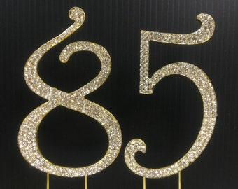 Gold  Rhinestone NUMBER (85) Cake Topper 85th  Birthday Parties FREE SHIPPING