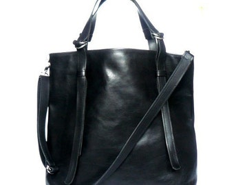 Big black leather bag