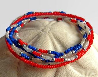 6 stretch bracelets, seed bead bracelets,, friendship bracelets, red, white, blue