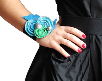 Zipper Cuff Wrist Corsage kelly green, aqua, electric blue