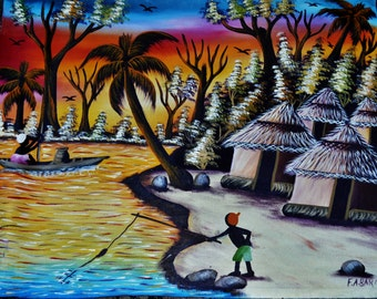 African painting, large 39 x 18 Inches size, Beautiful one of a kind, African Village Life on canvas, Home Decor, modern African design