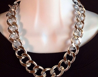 Chunky chain necklace. Extra large silver chunky chain necklace. Bold chain necklace. Large silver chain necklace.
