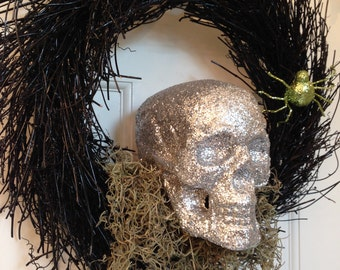 READY TO SHIP - Silver Skull Wreath, Halloween Wreath, Scary Wreath, Twig Wreath, Front Door Decor, Skeleton Wreath, Haunted Decoration