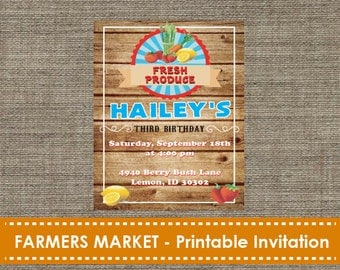 Farmers Market Printable Invitation - DIY - Printable