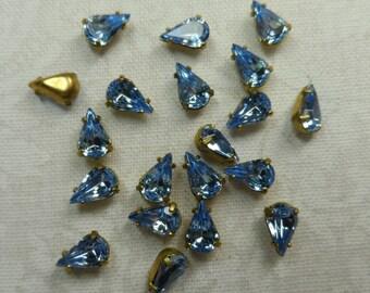 Swarovski crystal pear-shaped 6x3mm rhinestones,lt. sapphire,36pcs-SZD16