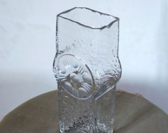 Vintage Bohemian Glass Mouth Blown and Hand Decorated Geometric Design Clear Glass