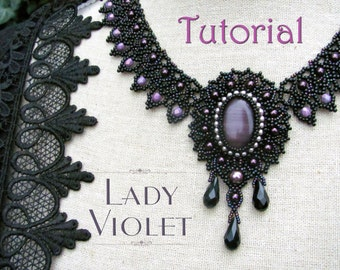 Tutorial for beadwoven necklace 'Lady Violet' - PDF beading pattern - DIY