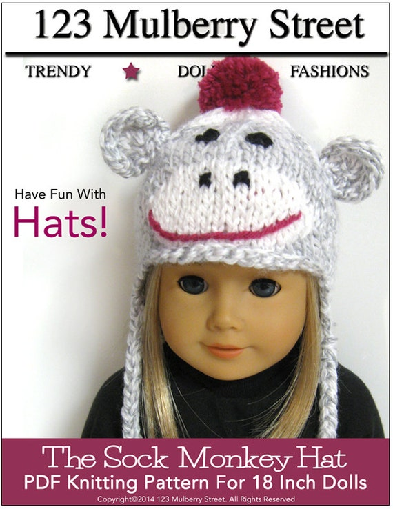 Sock Monkey Hat Knitting Pattern : Pixie Faire 123 Mulberry St Sock Monkey Hat Knitting Doll