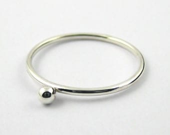 Sterling Silver Bead Ring, Sterling Silver Stacking Ring, Single Beaded Ring, Silver Dot Ring, Sterling Silver Jewellery