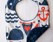 Nautical Baby Bib, Navy Baby Bib, Cute Baby Bib, Baby Shower Gift Ideas