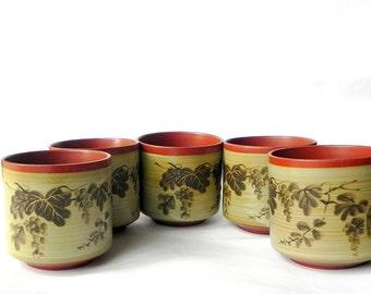 Vintage Chinese tea cups set - leaves