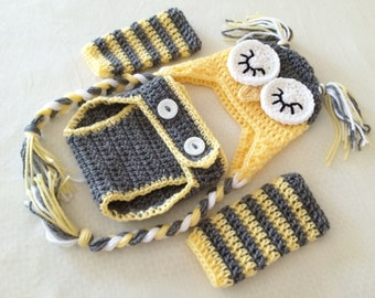 Any Color Baby Sleepy Owl Hat, Diaper Cover, & Legwarmer Set - 0 to 3 Months, 3 to 6 Months, 6 to 12 Months - Woodland, Animal