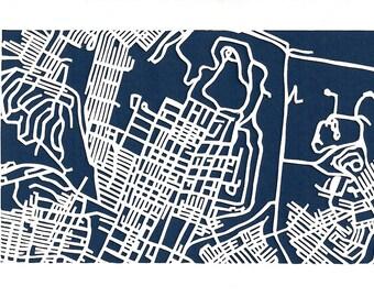 Highland Park, Pittsburgh -- cut paper map (original)