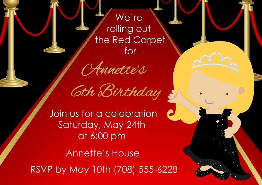 Printable Red Carpet Invitation Kids Birthday