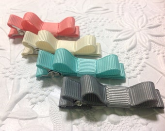 Easter hairbow- pastel colors baby hair bows -  4 pack tuxedo hair clip - newborn, toddler, mini snap clips, alligator clips