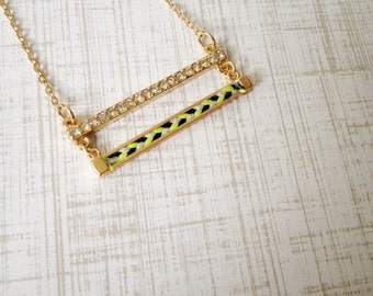 Double Bar Thread Necklace (White, Neon Light Green, Blue)