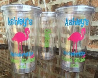 Flamingo Themed  Bachelorette Party Tumbler