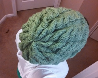 Women's Green Cable Knit Slouchy Beanie Hat