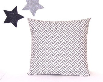 """Grey Cream Pillow Cover, Off White Decorative Geometric 16"""" Pillow, Accent Toss Sofa Pillow, Cushion Cover"""