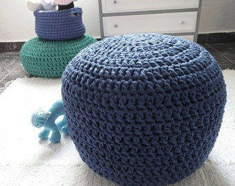 Navy Crochet Pouf Ottoman-Floor Pouf Chair-Nautical Nursery Decor-Footstool Pouf-Knit Floor Cushion-Nursery Furniture-Kids Floor Pillow