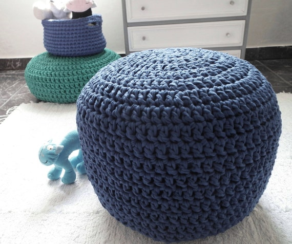 Crochet Ottoman : Navy Crochet Pouf Ottoman - Navy Ottoman Foot Rest - Nautical Nursery ...