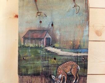Painting on a cedar shingle
