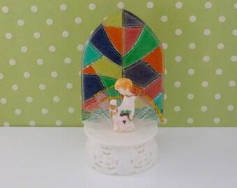 First Communion Cake Topper / Church window with kneeling boy/ Boy Communion topper /