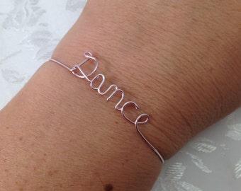 Dance bracelet, Personalized bracelet, wire Dance bracelet, Dance bangle bracelet, bangle, Dance, word bracelet, wire dance bracelet, team