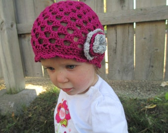 Pink Sparkle Baby Girl Hat - 12 months