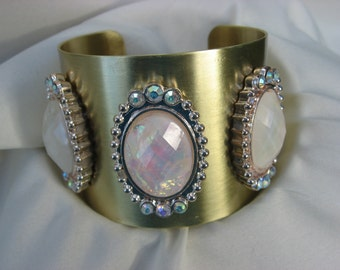 Wide Gold Cuff with  the Look of Opal,  Gold Cuff Bracelet, Wide Gold Cuff Bracelet