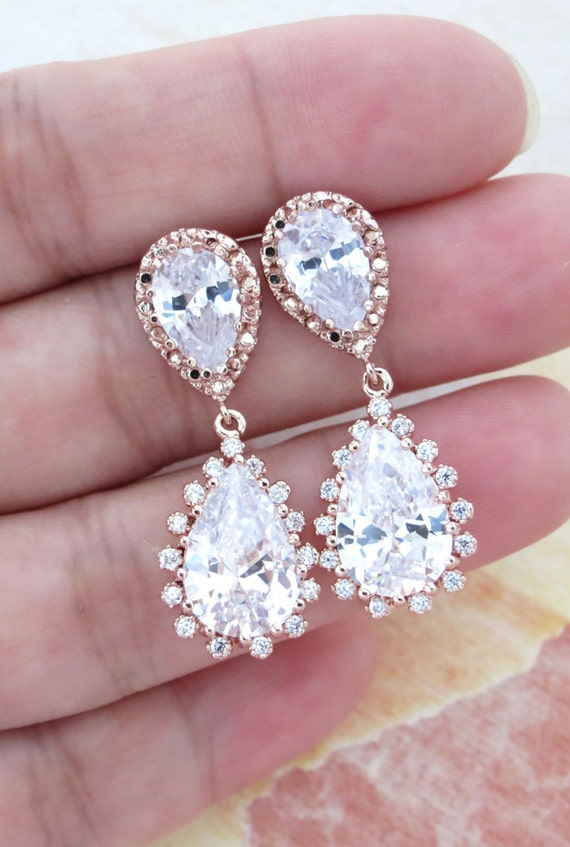 Deluxe Rose Gold Cubic Zirconia Teardrop Earrings - gifts for her, bridal gifts, pink rose gold weddings jewelry, bridesmaid earrings,