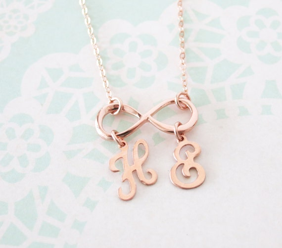 Personalized Infinity necklace - letter, initial, rose gold filled, personalized jewelry, forever love, sister, bridesmaid - N0029RG
