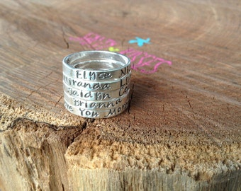 Personalized stackable stacking hand stamped rings sterling silver - anniversary - dates - birthday - promise ring jewelry