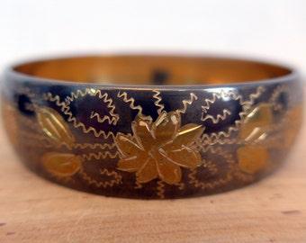 Vintage Etched Bangle Bracelet - Brass India Bracelet - Black Or Silver and Brass Bracelet Indian