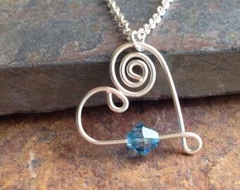 Silver Heart Necklace, Birthstone Necklace, Swarovski Crystal Birthstone, Mom Necklace, Anniversary Gift, Bridesmaid Gift