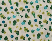 SALE - Kawaii Green Frog Fabric - Japanese Dobby Cotton Fabric - Quilting Cotton - Animal Fabric - Frogs and Lilypads - Westex - HALF YD