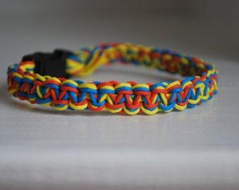 Blue, Orange, and Yellow Hemp Cat Collar