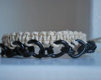 Hemp and Metal Chain Bracelet