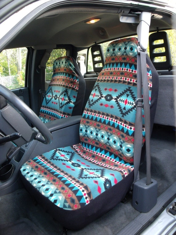 1 set of sioux spirit turquois print seat covers and the. Black Bedroom Furniture Sets. Home Design Ideas