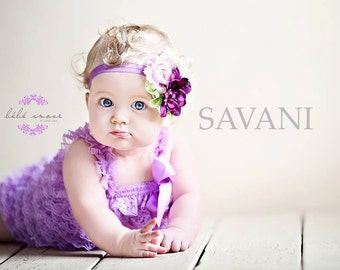 Baby girl romper,3 pcs lavender romper, headband and clip on a sash. Petti Romper Set.Lace Petti Romper Photo Prop,Flower girl lace outfit,