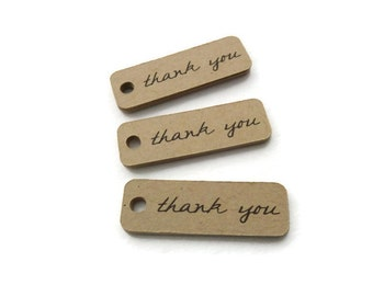 25 Count - Mini Tags - Thank You Tag - Hang Tag - 1.5 x 0.5 inch - Kraft Tag - Wedding Favor Tag - Gift Tags - Jewelry Tags TY6