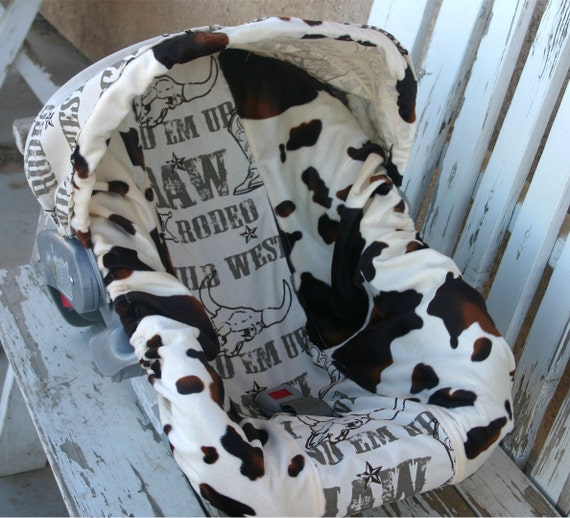 Brown And Tan Cow Print And Cowboy Taupe Infant Car Seat Cover
