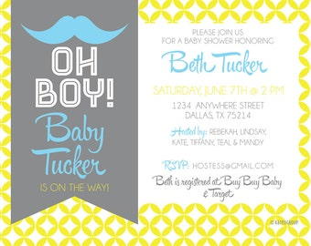 Mustache Oh Boy Baby Shower Printable Invitation