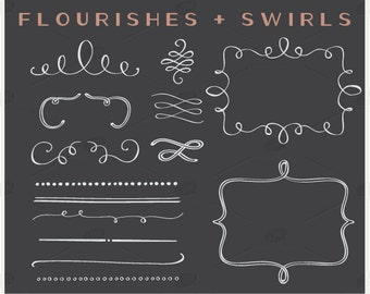 Flourishes and Swirls - PNG Files - Photoshop Brushes - Clip Art - Photoshop Brushes