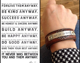 do it anyway leather cuff bracelet + print gift set, Mother Teresa quote, inspirational bracelet, Love Squared Designs