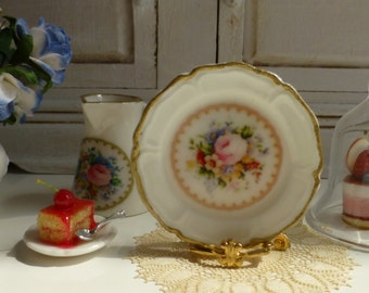 Lady Carlyle Rose Pink Porcelain Dollhouse Miniature Plate in 1:12 Scale