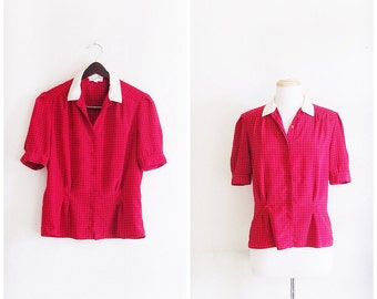 SALE was 58.00 now 45.00 Prim and Proper Schoolmarm Blouse // Vintage 80s Christian Dior Red and Blue Squared Blouse