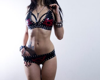 Latex studded pentagram bikini. MADE TO ORDER